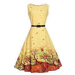 baratos Roupas de Meninas-Infantil Para Meninas Vestidos / Estilo vintage / Estampado Feriado / Para Noite Sólido / Floral Estampado Sem Manga Vestido / Algodão / Floral Estilo