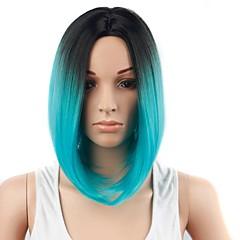 baratos Perucas Sintéticas-Perucas sintéticas Cabelo Sintético Cabelo Ombre Azul Peruca Mulheres Curto Sem Touca