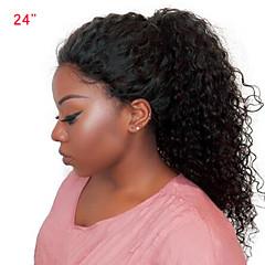 billiga Peruker och hårförlängning-Äkta hår Spetsfront Peruk Malaysiskt hår Curly Weave Med babyhår 250% Densitet Mellan Dam Äkta peruker med hätta