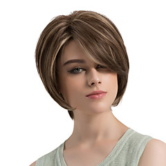 cheap Wigs & Hair Pieces-Synthetic Wig Women's Natural Wave Brown Layered Haircut / With Bangs Synthetic Hair Highlighted / Balayage Hair / Side Part Brown Wig Short Capless Brown / White MAYSU
