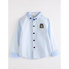 baratos Roupas de Meninos-Para Meninos Camisa Desenho Animado Outono Algodão Manga Longa Azul Claro