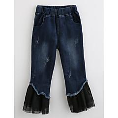 billige Bukser og leggings til piger-Baby Pige Ensfarvet Bomuld Jeans