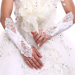 Lace Spandex Fabric Elbow Length Glove Luxury Bridal Gloves With Embroidery Pearls Sequins