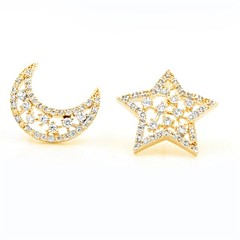 cheap -Women's Mismatch Star Cubic Zirconia Rose Gold Zircon Gold Plated Stud Earrings - Mismatch Elegant Fashion Sweet Moon Star For Gift Date