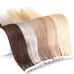 cheap Tape in Hair Extensions-Neitsi Tape In Human Hair Extensions Straight Blonde Ombre Skin Weft Hair Extension Human Hair 24 inch 20pcs Multi Color / 5a Women's