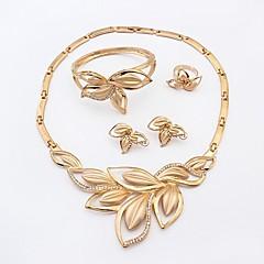 baratos Conjuntos de Bijuteria-Mulheres Gema Conjunto de jóias Bracelete / Colares com Pendentes - Imitações de Diamante Formato de Folha Dourado