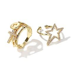 Χαμηλού Κόστους Ring Set-Γυναικεία Δέσε Ring 2 Χρυσό Κράμα Circle Shape Μοντέρνα Κορεάτικα Άλλα Καθημερινά Κοστούμια Κοσμήματα