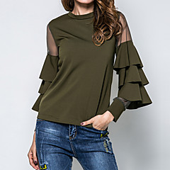 Damen Solide Bluse Gitter Aufflackern-Hülsen- Baumwolle Polyester