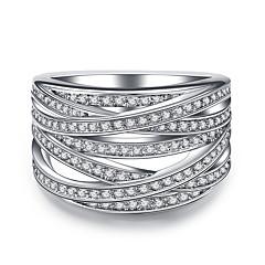 billige Motering-Dame Kubisk Zirkonium Geometrisk Band Ring - Sølv, Kubisk Zirkonium Vintage, Elegant 5 / 6 / 7 / 8 / 9 Sølv Til Bryllup Aftenselskap