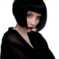billiga Peruker och hårförlängning-Syntetiska peruker Rak Med lugg Syntetiskt hår Naturlig hårlinje Svart Peruk Dam Mellan Naturlig peruk Utan lock