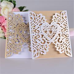 זול הזמנות לחתונה-שער כפול הזמנות לחתונה כרטיסי הזמנה סגנון קלאסי סגנון לב נייר פנינה