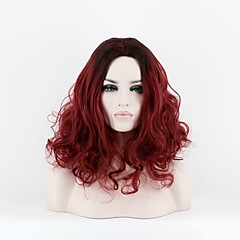cheap Wigs & Hair Pieces-Synthetic Wig Women's Curly Red Synthetic Hair Middle Part Red Wig Medium Length Capless Black / Red