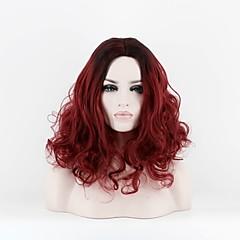 billiga Peruker och hårförlängning-Syntetiska peruker Lockigt Syntetiskt hår Mittbena Röd Peruk Dam Mellan Utan lock