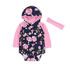billige Babytøj-Baby Pige Afslappet / Mode Blomstret Langærmet Bomuld Bodysuit Blå