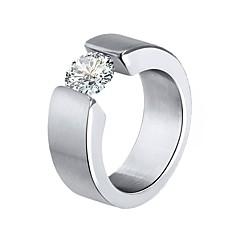 tanie -Męskie Damskie Duże pierścionki Cyrkonia Urocza Modny Stal nierdzewna Circle Shape Biżuteria Na Impreza Ceremonia