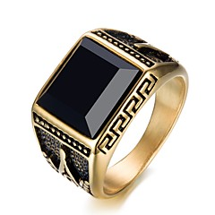 cheap Rings-Men's Band Ring Gold Stainless Circle Party Daily Costume Jewelry