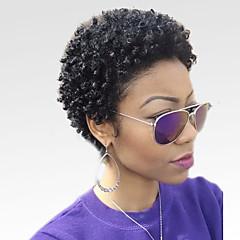 billige Lågløs-Human Hair Capless Parykker Menneskehår Kinky Curly Afro Afro-amerikansk paryk Kort Maskinproduceret Paryk Dame