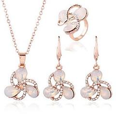 baratos Conjuntos de Bijuteria-Mulheres Opala Conjunto de jóias - Imitações de Diamante Flor Clássico, Fashion Incluir Brincos Compridos / Colar Dourado Para Diário