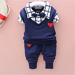 tanie Odzież dla chłopców-Komplet odzieży Bawełna Dla chłopców Rysunek Na każdy sezon Długi rękaw Prosty Urocza Moda miejska Czerwony Light Blue Granatowy