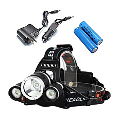 cheap Camping, Hiking & Backpacking-LS052 Headlamps LED 3000 lm 4 with Batteries and Chargers Waterproof Camping / Hiking / Caving