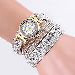 Χαμηλού Κόστους -Γυναικεία Χαλαζίας Βραχιόλι Ρολόι Κινέζικα Hot Πώληση PU Μπάντα Καθημερινό Προσομοιωμένο ρολόι Diamond Μοναδικό Watch Creative Μαύρο