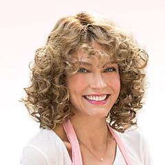 billige Lågløs-Human Hair Capless Parykker Menneskehår Krøllet Afro Highlighted/balayage-hår Medium Maskinproduceret Paryk Dame
