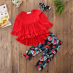 billige Tøjsæt til piger-Baby Pige Aktiv / Gade Ensfarvet / Blomstret / Geometrisk Langærmet Lang Lang Bomuld / Polyester Tøjsæt Rød 100