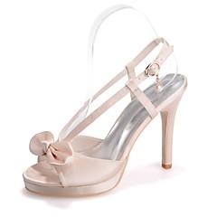 Feminino Sapatos Cetim Primavera Verão Plataforma Básica Sandálias Salto Agulha Dedo Aberto Laço para Social Festas & Noite Roxo Azul