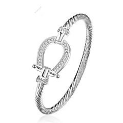 baratos -Mulheres Bracelete Zircônia Cubica Fashion Chapeado Dourado Forma Geométrica Jóias Presente Diário Jóias de fantasia Prata