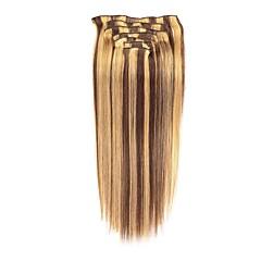 お買い得  人毛エクステンション-Clip In 人間の髪の拡張機能 7PCS /パック 70グラム/パック チェスナットブラウン/ブリーチブロンド ミディアムブラウン  /ストロベリーブロンド ミディアムブラウン/ブリーチブロンド ブラック/ブリーチブロンド ゴールデンブラウン/ブリーチブロンド 16