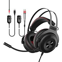 billiga Headsets och hörlurar-AJAZZ THE ONE Headband Kabel Hörlurar Planar Magnetic Metall Spel Hörlur Med volymkontroll / mikrofon / Stereo headset