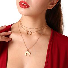 billige Halsbånd-Dame Krystal Kort halskæde / Halskædevedhæng - MOON Vintage Guld Halskæder Til Daglig, Gade