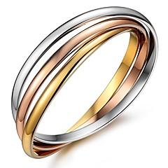 baratos -Mulheres Bracelete , Básico Fashion Aço Inoxidável Formato Circular Jóias Diário Formal Jóias de fantasia Dourado
