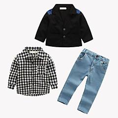 billige Tøjsæt til drenge-Drenge Tøjsæt Ternet Patchwork, Rayon Forår Efterår Langærmet Gade Sort