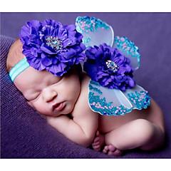 billige Babytøj-Baby Unisex Tøjsæt Fødselsdag Trykt mønster, Polyester Alle årstider Uden ærmer Sødt Blå Lyserød Lilla