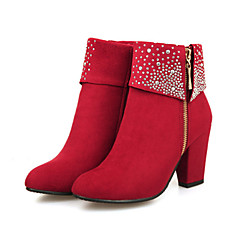 cheap Wedding Shoes-Women's Shoes Suede Winter Fall Comfort Novelty Bootie Boots Chunky Heel Pointed Toe Booties/Ankle Boots Rhinestone for Wedding Party &