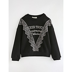 billige Hættetrøjer og sweatshirts til piger-Baby Pige Tegneserie Ensfarvet / Geometrisk Bomuld T-shirt