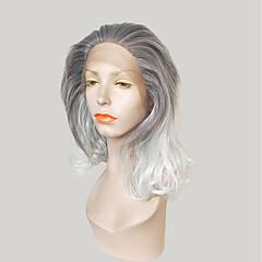 billiga Peruker och hårförlängning-Syntetiska snörning framifrån Naturligt vågigt Frisyr i lager Mörka hårrötter Ombre-hår Grå Dam Spetsfront Karneval peruk Celebrity Wig