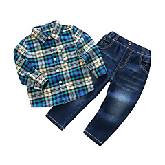 billige Tøjsæt til drenge-Drenge Tøjsæt Daglig Ternet, Bomuld Polyester Forår Langærmet Blå