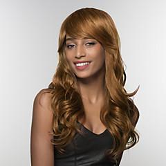 billige Lågløs-Human Hair Capless Parykker Menneskehår Bølget Side del Lang Maskinproduceret Paryk Dame
