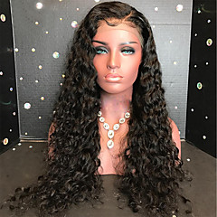 billiga Peruker och hårförlängning-Äkta hår 360 Fasad Peruk Brasilianskt hår Lockigt / 360 Frontal 180% Densitet Naturlig hårlinje Lång Äkta peruker med hätta