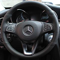 billige Rattovertrekk til bilen-Rattovertrekk til bilen ekte lær 38 cm Svart / Rød / Svart / Rød For Mercedes-Benz E klasse / C klasse / B200 Alle år