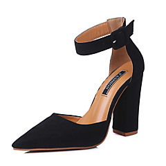 cheap Women's Heels-Women's Shoes Synthetic Microfiber PU Spring / Summer Comfort / D'Orsay & Two-Piece / Basic Pump Heels Chunky Heel Pointed Toe / Closed Toe Buckle / Hollow-out Pink / Wine / Light Brown / Dress