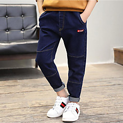 billige Jeans til drenge-Børn Drenge Aktiv Ensfarvet / Simpel / Patchwork Bomuld Jeans
