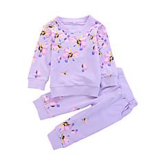 baratos Roupas de Meninas-Bébé Para Meninas Corpos separados / Casual Sólido / Floral Manga Longa Conjunto
