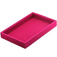 billige Smykkeemballage og displays-Smykkeskrin Manchetknapper Box Kvadrat Linned Sort Hvid Rød Candy pink Mørkegrå Klæde Stof
