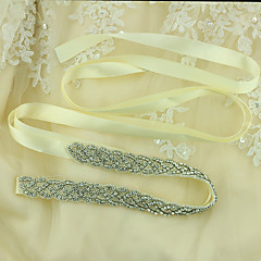 cheap -Satin Wedding Special Occasion Sash With Crystals/Rhinestones Women's Sashes