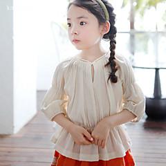 billige Pigetoppe-Pige Skjorte Ensfarvet, Bomuld Hør Bambus Fiber Akryl Forår Kortærmet Vintage Beige