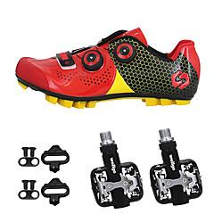 billige Sykkelsko-SIDEBIKE Voksne Sykkelsko med pedal og tåjern / Mountain Bike-sko Karbonfiber Anti-Skli, Anvendelig Sykling Svart / Rød / Grønn / Svart Herre