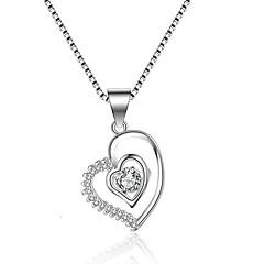 ieftine -Pentru femei Circle Shape Inimă LOVE Formă Clasic Vintage Modă Coliere cu Pandativ Zirconiu Cubic Zirconiu Argintiu Coliere cu Pandativ
